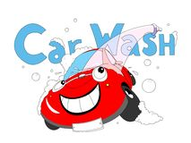 Car wash. The cartoon car takes a shower Royalty Free Stock Photos