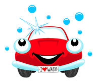 Car wash. The cartoon red car wash Royalty Free Stock Photos