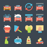 Car wash auto cleaner washer shower service icons Stock Images