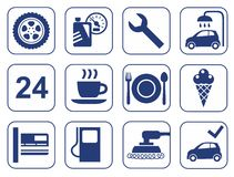 Car wash, auto repair, tire service, cafe, icons, monochrome, flat. Stock Images