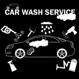 Car wash banner drawing by white color Royalty Free Stock Photo