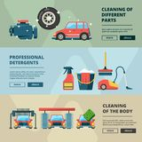 Car wash banners. Cleaning service water bucket and wiping sponge vector concept pictures. Illustration of carwash station, car service web banner stock illustration