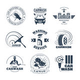 Car Wash Black Emblems Icons Set. Full service and excellent quality mobile car wash companies chains black emblems labels collection isolated vector Royalty Free Stock Images