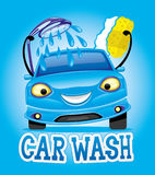 Car wash with blue car. Car wash with blue car on a blue background stock illustration