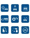 Car wash blue icon set Stock Photography