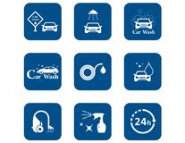Car wash blue icons set Stock Photo