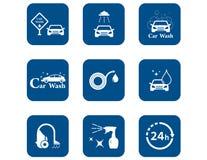 Car wash blue icons set Stock Photo