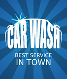 Car wash. Blue car wash poster. EPS10 vector image Royalty Free Stock Photos