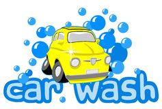 Car wash. With bubbles and text royalty free illustration
