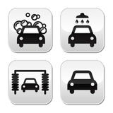 Car wash buttons set -. Modern grey square buttons - washing cars royalty free illustration