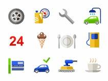 Car wash, car repair, color icons. Royalty Free Stock Photo