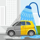 Car wash, coloured illustrations, dirty car, clean car. Royalty Free Stock Photo