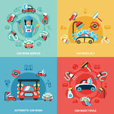 Car Wash Compositions Set. Four square car wash 24/7 colorful compositions with cartoon cars cleaning agents and tools images vector illustration Stock Photography