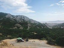 Car wash in crimean mountains stock photo