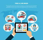 Car Wash Finder Concept. Car wash find online conceptual composition with location based tablet application and carwash service type images vector illustration Royalty Free Stock Images