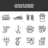 Car wash flat icons set royalty free illustration