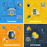 Car Wash 4 Flat Icons Square. Auto center car wash 4 flat icons square composition with self and full  service  vector illustration Royalty Free Stock Photography
