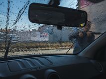 Car wash. Focused from inside. Royalty Free Stock Photos