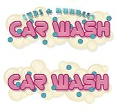 Car Wash Fundraiser Sign. Car Wash Carwash fundraiser Sign art poster with suds and bubbles logo isolated on white background pink and blue vector illustration