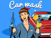 Car wash girl comic book style vector Stock Image