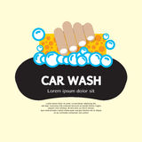 Car Wash. Hand Hold Sponge Over The Car For Washing Vector Illustration royalty free illustration