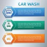 Car-wash-horizontal-banner-set-gray-background Royalty Free Stock Images