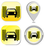 Car wash icon button sticker point marker Royalty Free Stock Images