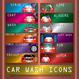 Car wash icons on copperplate vector illustration