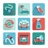 Car Wash Icons Flat Stock Photo
