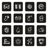 Car Wash Icons Freehand White On Black. This image is a vector illustration and can be scaled to any size without loss of resolution vector illustration