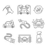 Car wash icons outline Stock Photo