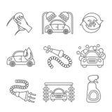 Car wash icons outline stock illustration