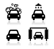 Car wash icons set -. Modern black icons set with reflection - washing cars vector illustration