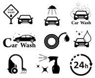 car wash icons set Royalty Free Stock Photography