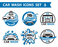 Car wash icons set. Set of six car wash icons stock illustration