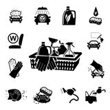 Car wash icons set Royalty Free Stock Images