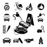 Car wash icons set. On white - vector illustration Stock Image