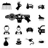 Car wash icons set Stock Photography