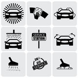 Car wash icons(signs) set of cleaning car- vector graphic. This illustration represents nine symbols of washing and cleaning in a 24 hour service station Royalty Free Stock Photo