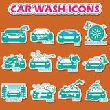 Car wash icons in sticker style Royalty Free Stock Image