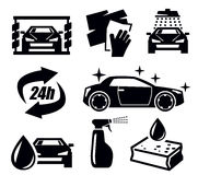 Car wash icons Stock Photo