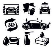 Car wash icons. Vector black car wash icons set on white Stock Photo