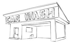 Car wash. Illustrated on a building vector illustration