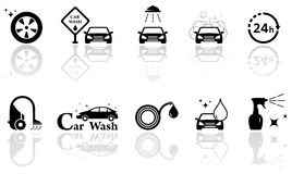 Car wash isolated objects set Stock Photos