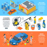 Car Wash Isometric Banners Set Stock Photo