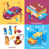 Car Wash Isometric Design Concept Royalty Free Stock Photography