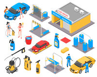 Car Wash Isometric Set. With garage, vehicles, cleaning equipment, detergents, girls in bikini, workers isolated vector illustration stock illustration