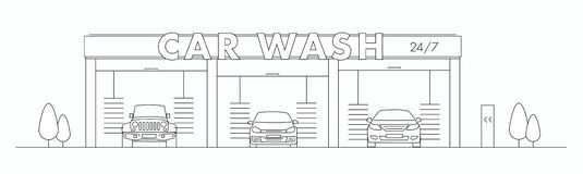 Car wash line illustration with three cars in a tunnel carwash. Front view vector illustration