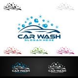 Car Wash Logo, Cleaning Car, Washing and Service Vector Logo Design. Concept royalty free illustration