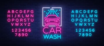Car wash logo design emblem in neon style vector illustration. Template, concept, luminous sign on the theme of washing. Cars. Editing text neon sign. Neon Stock Photography